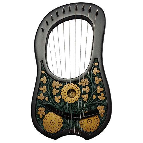 Hs arpa/lira a 10 corde in metallo, strumento in legno palissandro black flower design