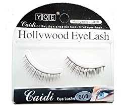 HOLLYWOOD EYELASH 1 Pair Black Natural Thick Long False Eyelashes with Adhesive - 008