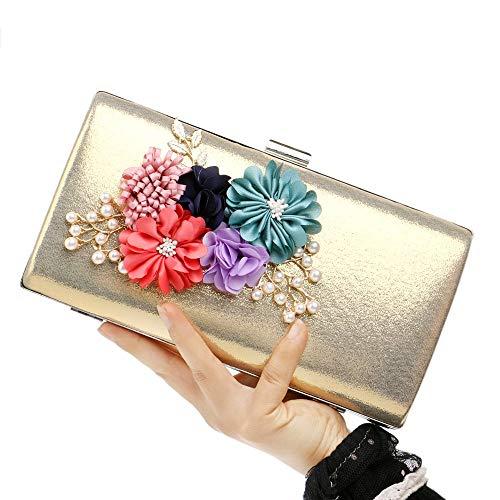MaoDaAiMaoYi Handtaschen Damen Blume Kupplungen Abendtaschen Hochzeit Clutch Geldbörse Perle Perlen Hochzeit Mode Living Braut Geldbörse Prom Party Handtasche (Color : Gold, Size : One Size)