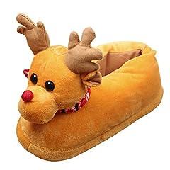 Idea Regalo - Odejoy Unisex Adulti Plush 3D Novità di Natale Pantofole Renna Unisex Inverno Caldo Indoor Natale Peluche Pantofole Casa Cotone Scarpe (m, Yellow)