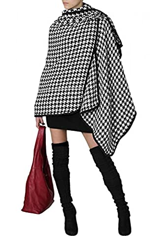 CASPAR Damen stylischer Poncho / Stola / Umhang / Überwurf / Strick - Cape mit Leomuster oder Hahnentritt - PON005, Farbe:schwarz / weiß