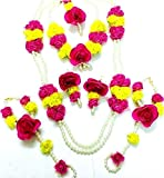 QUVYARTS Floret Jewellery Pearl Pink Yellow Flower Jewellery Set for Women