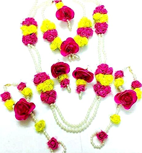 Floret Jewellery Pearl Pink Yellow Flower Jewellery Set for Women & Girls (Mehandi/Haldi/Wedding)