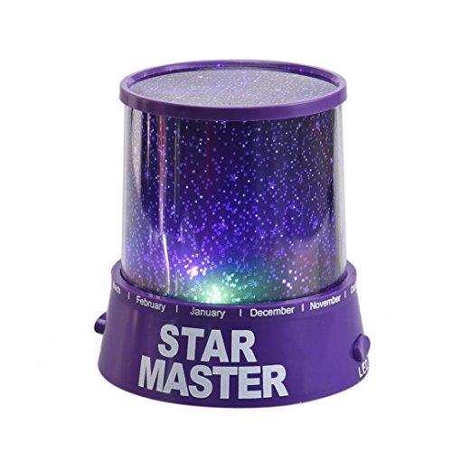 Tongshi Romántica Cosmos amo de la estrella LED del proyector de la lámpara de luz de la noche púrpura del regalo