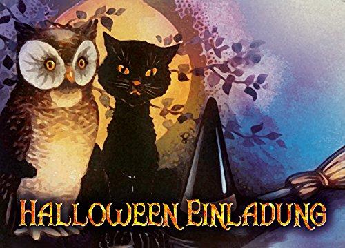 Halloween Kostüme Irrenanstalt (12er Set Halloween Einladungen // Gruselige Hexen Einladungskarten für eure Halloweenparty // Auch für Kindergeburtstage von Jungen und)