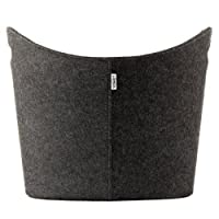 LOMOS large felt basket Thore in grey, suitable for storing logs, firewood & toys, with reinforced handles