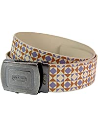 Retro Pattern Belt Cream and Grey. Funky Vintage Styling Retro Accessory