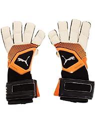 Puma One Grip 1 Hybrid Pro Goalkeeper Gloves, Unisex Adulto, White/Shocking Orange/Black/Silver, 8.5
