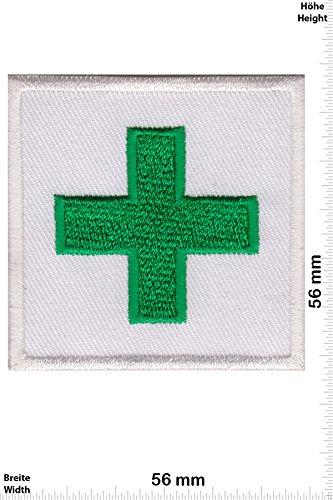 Patch-Iron-Grünes Kreuz - Green Cross - Emergency Medical Services - - Rettungsdienst - - Iron On Patches - Aufnäher Embleme Bügelbild Aufbügler