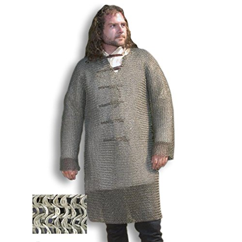 Hauberk - Langarm Kettenhemd, Mittelalterliches Kettenhemd, LARP, Reenactment Kostüm, Vernietetes Kettenhemd, Mittelalter Kettenhemd