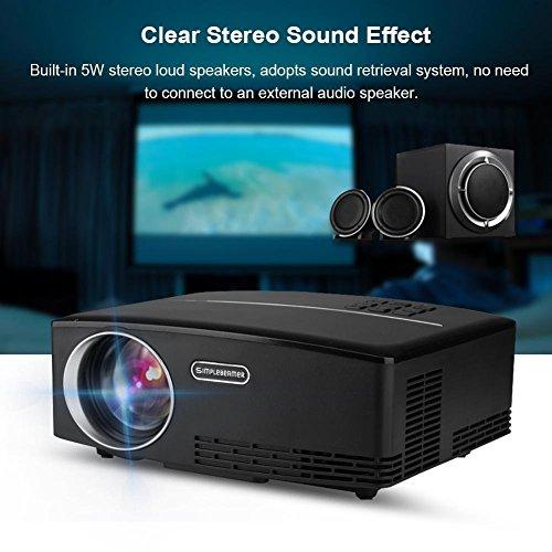 GOTOTOP Portable Mini LED Cinema Projector Support 4K x 2K Ultra HD HDMI Media Player Movie Gaming Projector  Multimedia Video Projector for Home Theater  Black