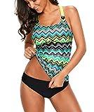 Happy Sailed Damen Badeanzug Farbverlauf Kreuz Rückseite Einteiler Swimsuit S-XL