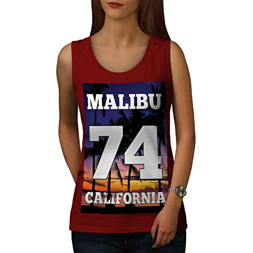 Malibu Strand Kalifornien Sandig Strand Damen S-2XL Muskelshirt | Wellcoda Rot