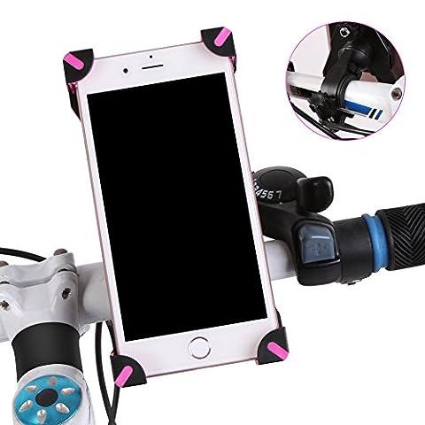 Vélo support pour téléphone portable/GPS Navigator support Nouveau Style antidérapant universel pour moto voitures électriques Vélo de montagne pour Samsung Xiaomi Huawei téléphone portable Accessoires Rose/noir, rose