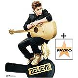 """*Fanbündel* - Justin Bieber """"Believe"""" spielend akustische Gitarre golden - Special Edition Lebensgrosse Pappfiguren / Stehplatzinhaber / Aufsteller - Enthält 8X10 (25X20Cm) starfoto - Fanbündel #373"""