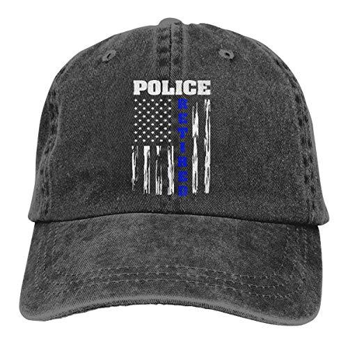 Ingpopol Men Women Adjustable Denim Jeans Baseball Cap Retired Police Officer American Flag Snapback Cap Police Officer Cap