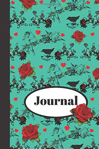 Journal: Beautiful Blue Pattern Of Roses, Angels, Hearts, And Birds - Lined JOURNAL, 130 pages, 6