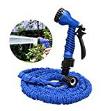 OKCS Gartenschlauch - Flexibler Schlauch bis zu 15 Metern Gartenarbeit Garten Wasserschlauch - Blau