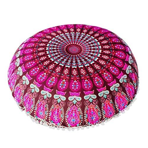 Fundas De Cojines, India Large Mandala Floor Pillow Cómodo Home Car Bed Sofa Large Mandala Floor Pillows Round Bohemia Meditación Cojín Otomano Puff Cover (Purple)