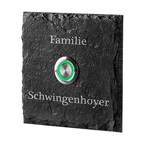 LED Türklingel aus Schiefer Taster GRÜN Model Amsel mit Edelstahlklammer inkl. Gravur Familie (05 Schiefer-grün)