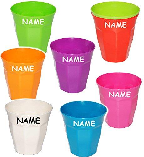 """Trinkbecher / Becher - """" Waffeloptik - Bunte Farben """" - incl. Name - 280 ml - aus Kunststoff / Plastik - Tasse - auch als Zahnputzbecher / Malbecher - Kinder & Erwachsene - Kindertasse / Kinderbecher - Partybecher - Trinklerntasse / Trinkglas - Kindergeschirr - Jungen & Mädchen - Campinggeschirr - Mehrwegbecher - Kindergeschirr / Retro Design Vintage - Campingbecher / Plastikgeschirr mehrweg Camping Set / Plastikbecher - Kunststoffbecher bunt - Geschirr - Neon"""
