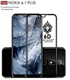 #10: FASHIONISTA Full Glue Nokia 6.1 Plus Full Coverage 3D Tempered Glass, Full Edge-to-Edge 3D Screen Protector -Black (Pack of 1)