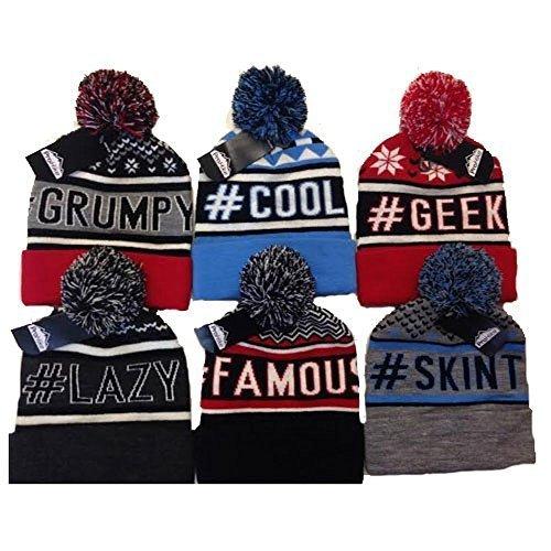Unisexe ProHike Slogan Bonnet À Pompon ##famous cool #geek #grincheux #paresseux #skint - #geek, taille unique, One Size