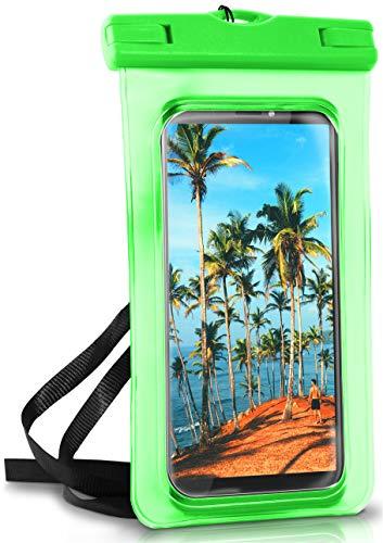 ONEFLOW Wasserdichte 360° Handy-Hülle für alle HTC Modelle [Full-Body Cover] Touch-Funktion und Kamera-Fenster + Armband und Schlaufe zum Umhängen, Grün