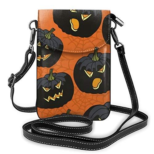 Goxegag Multifunktionale Leder Telefon Geldbörse, Leichte Kleine Schulter Umhängetasche Reisetasche Mit Verstellbarem Gurt Für Frauen-Schwarze Halloween-Kürbise auf Orange