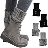 Winter Warm Women Leg Warmers Short Comfortable Stretchy Fit Crochet Knit Boot Topper Cuffs Socks 2 Pairs