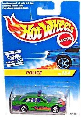 Hot Wheels - 1997 Series - #1 of 4 - POLICE [Cruiser] - Green & Purple Body Colors w/Side & Hood Tampos (Flames Graphics) - 5-Spoke Wheels - Multi-Language Hang Card/Canada by Hot Wheels - Multi Spoke Wheel