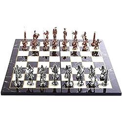 GiftHome - Juego de ajedrez de Metal con Figuras Antiguas de Cobre para Adultos, Piezas Hechas a Mano y diseño de mármol, Tablero de ajedrez de Madera, King 3.4 Pulgadas