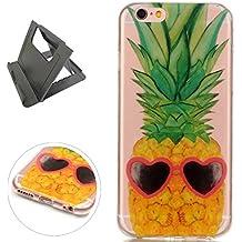 iPhone 6/6S Plus Funda de gel de Silicona (con Trípode Negro Libre) Keyye Cristal a Prueba de Golpes Suave Jalea de Goma TPU Parachoques Protección Shell Cubierta-Ananas dell'oro