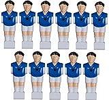 11 Kickerfiguren für 16 mm Stangen inkl. Schrauben + Muttern Komplett Set (Blau-Weiß) von Charlsten