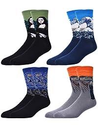 4 pares de calcetines para mujer con diseños, de algodón, de la marca Hapileap