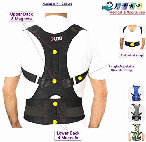 51bHlO NsRL - Back Support Neoprene Magnetic Lumbar Shoulder Support Breathable Back Pain Belt Strap Injury Brace Gym Arthritis round shoulder Posture Corrector bad upper back Support Pain Brace - B107 (Black, XL) Reviews and price compare uk