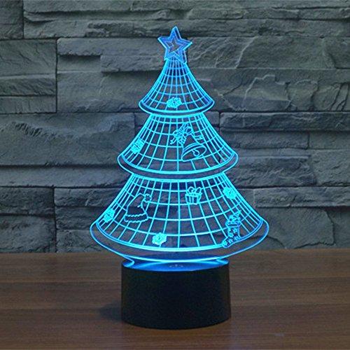 Lampe 3D ILLUSION Lichter der Nacht, kingcoo 7Farben LED Acryl Licht 3D Creative Berührungsschalter Stereo Visual Atmosphäre Schreibtischlampe Tisch-, Geschenk für Weihnachten, Kunststoff, Arbre de Noël 0.50 wattsW - 6