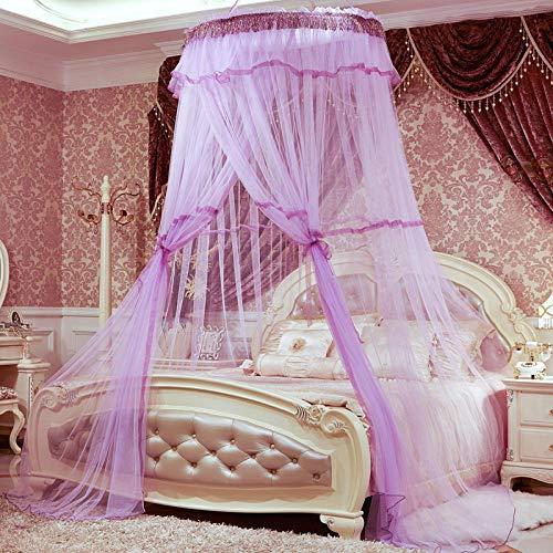 Stahl-bodenbelag (RenshenX Moskitonetz für Einzelbett Kinderbett,Erhöhen Sie verschlüsselten Studenten-Moskito, Decken-Hauben-Bodenbelag-Studenten-rundes Hängen, Lila,Keine Chemikalien Insektenschutz)