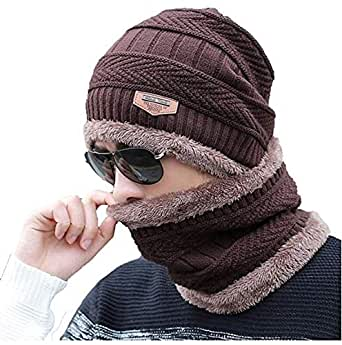 PinKit Women's Fleece Knitted Inside Fur Woollen Imported Soft Warm Snow and Air Proof Beanie Winter Cap with Scarf (Brown) -2 Pieces