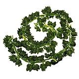 Fenical 12piezas falso Artificial colgante hojas de planta Garland Home Garden Wall decoración dulce patatas hojas boda guirnaldas Poison Ivy disfraz boda decoración 6,5ft