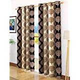 Story@Home Modern Polyester Floral Pattern Eyelet 2 Piece Printed Ringtop Door Curtain Set for Drawing Room, Bedroom and Hall - 7 Ft, Brown & Cream