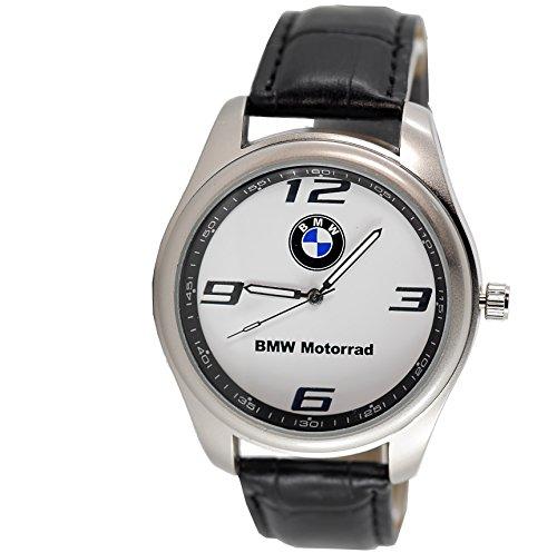 BMW MOTORRAD Bergkristall rund Sport Armbanduhr Schwarz Band + Gratis Ersatz Batterie + Gratis Geschenkverpackung