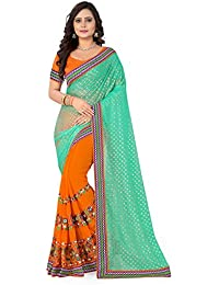 Riva Enterprise Women's Lycra Pallu Embroidred Orange And Green Color Women Saree (RIVA134_)