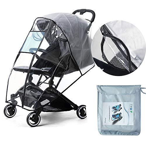 Prettop Stroller Rain Cover Baby Buggy Pushchair Universal Raincover Waterproof Weather Shield Windproof Dust Snow Travel Outdoor Rain Cover Clear EVA Transparent