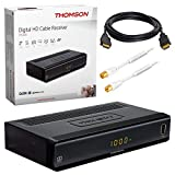 Kabel Receiver Kabelreceiver – DVB-C HB-DIGITAL SET: THOMSON THC300 HD Receiver für digitales DVB-C Kabelfernsehen (HDMI, SCART, USB 2.0, Coaxial S/PDIF, Mediaplayer) + 1m HDTV Antennenkabel vergoldet mit Mantelstromfilter weiß + HDMI Kabel