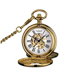 """Akribos XXIV """"Bravura"""" Mechanical Pocket Watch - Mechanical Hand-Wind Movement On a Skeleton Dial Comes With Cover and Chain - AK609"""