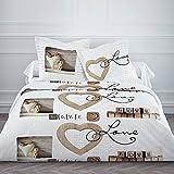 Today 015734 Love Cottage Juego de cama con funda nórdica de 220 x 240 cm y 2 fundas de almohada de 63 x 63 cm, algodón, color blanco y beige