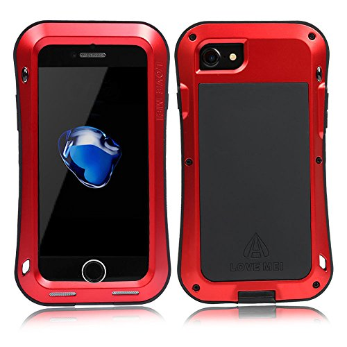 iPhone 7 Hülle Case, Feitenn Full Body Rugged Slim Heavy Duty Armor Aluminum Metal Shockproof Scratch Resistant Dual Layer TPU Protective Bumper Case Cover for Apple iPhone 7 4.7 Zoll (iphone 7, Rot) Rot