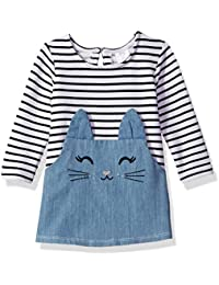 Youngland Baby Girls Stripe Denim Cat Face Tunic Dress