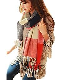 YARBAR Mujeres damas invierno cálido bufanda larga de rejilla de cachemira gran paño del tartán Chal